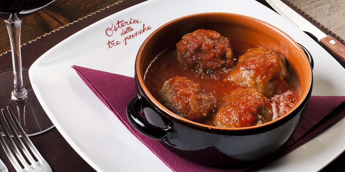 Osteria delle Tre Panche Beef's Ball with tomato sauce